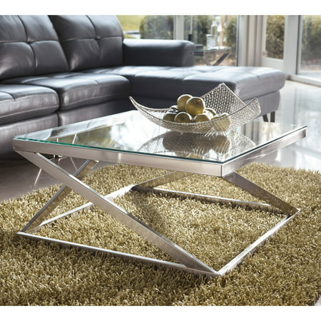 Signature Design By Ashley Coylin Brushed Nickel Square Cocktail Table (Signature Halloween Cocktails)