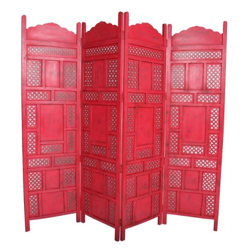 Porter International Designs Wanderloot Leela Red 4-panel Hand-painted Wooden Screen (India)