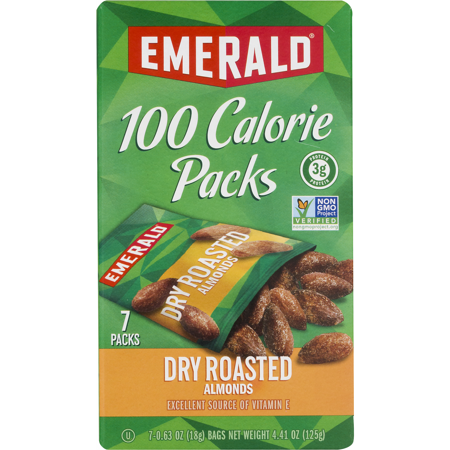Emerald Dry Roasted Almonds 100 Calorie Packs, 7-Count Box