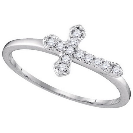 Size - 7 - Solid 10k White Gold Round White Diamond Channel Set Cross Fashion Ring (1/8 cttw)