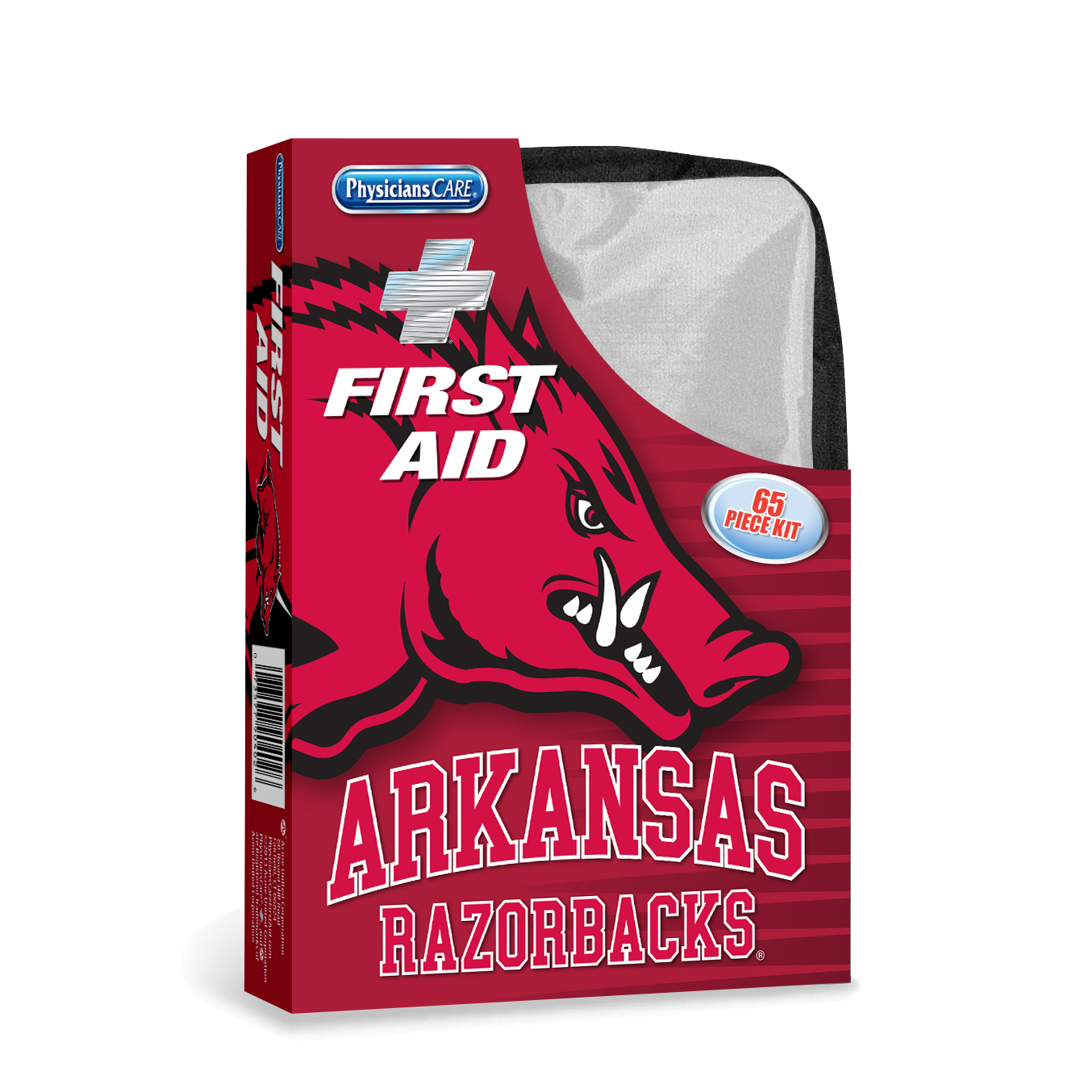 PhysiciansCare Arkansas Razorbacks First Aid Kit, Fabric Case, 65 Pieces, 10 Person