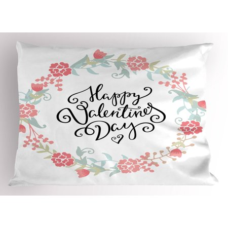 Valentines Day Pillow Sham Floral Flowers Buds Roses Tulips Circled Frame Valentine Hearts, Decorative Standard Size Printed Pillowcase, 26 X 20 Inches, White and Black, by Ambesonne (Tulip Circle)