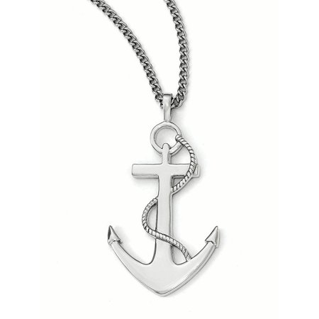 Stainless Steel Polished Anchor Mariner Cross Necklace 24 - Anchor Cross Necklace