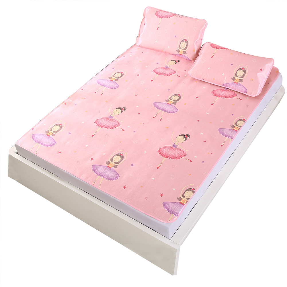 Twin XL Cooling Mattresses 3D Printing Foldable Folding Summer Ice Silk Cover Cooling Mat Pink with Pillowcase