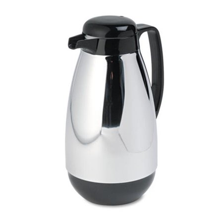 Hormel Corp PM10CJ Vacuum Glass Lined Chrome-Plated Carafe, 1L Capacity, Black Trim