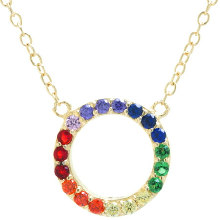 Fine Gold Plate Over Sterling Silver Rainbow CZ Open Circle Necklace 18 inches
