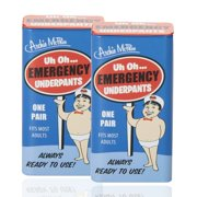 Archie McPhee Pack-of-2 Emergency Underpants set   Novelty Hilarious Funny Entertaining Prank Humorous Silly Gag Gift Practical Joke For Family and Friends   Compressed Disposable Unisex Undergarment