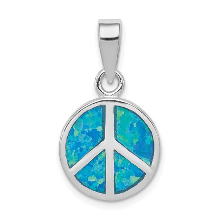925 Sterling Silver Blue Inlay Created Opal Peace Sign Pendant Charm Necklace