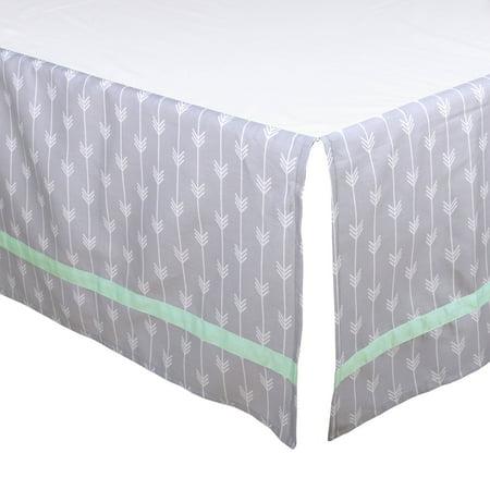 The Peanut Shell Tailored Crib Skirt - Grey Arrow Chevron Geometric Print with Mint Green Trim - 100% Cotton Sateen 14 Inch Drop, Standard Crib