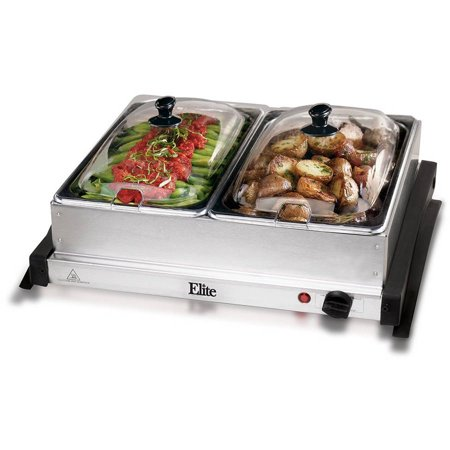 Maxi Matic Elite Gourmet 2 x 2.5 qt Electric Buffet Server, Stainless Steel