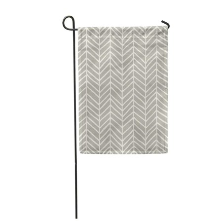 LADDKE Beige Abstract Herringbone Pattern Classic Color Doodle Drawing Drawn Garden Flag Decorative Flag House Banner 28x40 inch