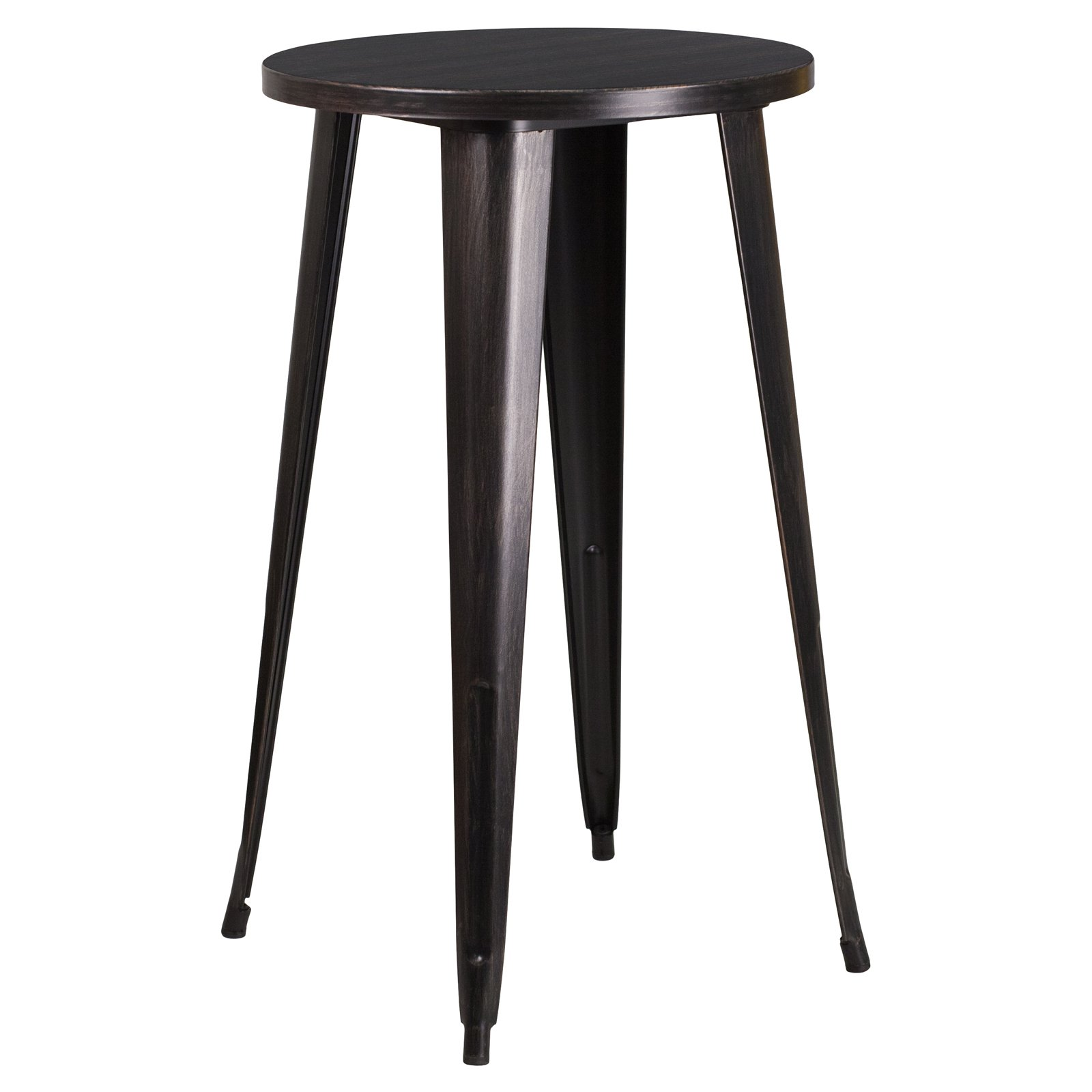 Flash Furniture 24'' Round Black-Antique Gold Metal Indoor-Outdoor Bar Height Table