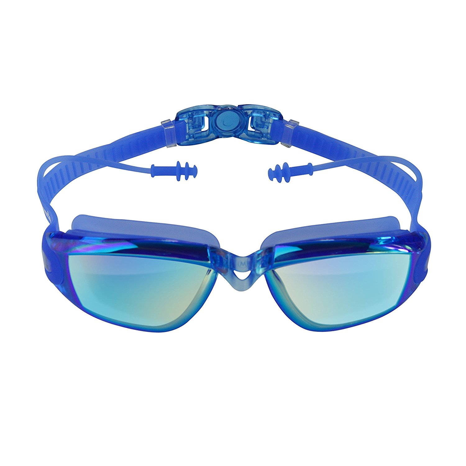 Swimming Goggles, IPOW UV Protection No Leaking Anti Fog Triathlon Swim Goggles with Ear Plugs for Adult, Men, Women, Youth, Kids, Blue