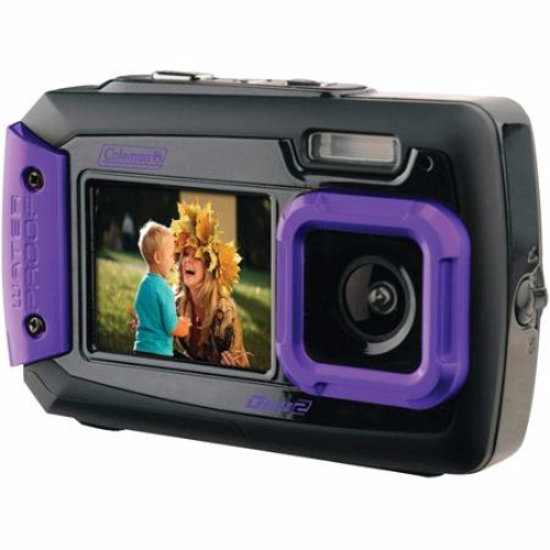 Coleman Duo2 2V9WP-P 20 MP Waterproof Digital Camera with Dual LCD Screen (Purple)