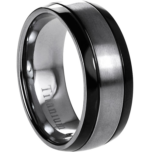 Daxx Men's Titanium Brushed Center and Black Grooved Sides Ring