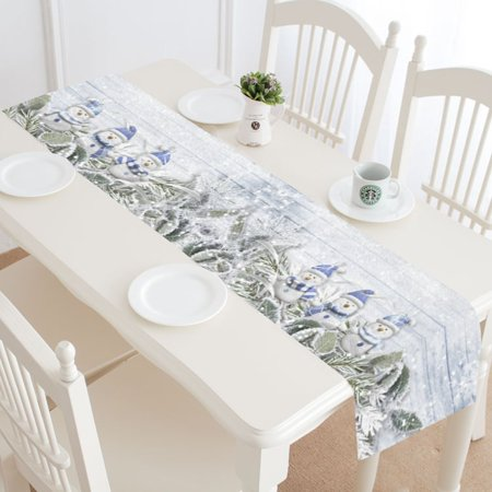 MYPOP Christmas Winter Snowman Table Runner Home Decor 14x72 Inch, Christmas Tree Branch Table Cloth Runner for Wedding Party Banquet - Winter Table Decoration Ideas