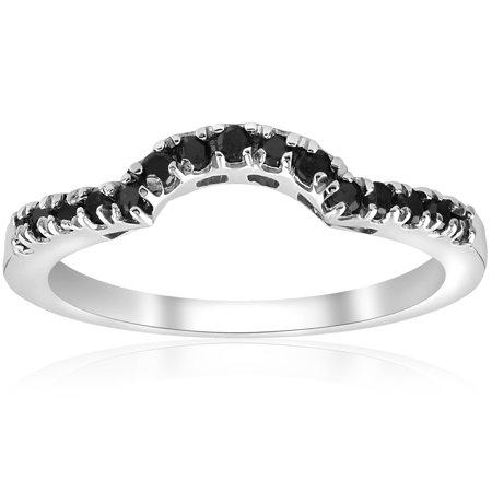 1 4 Ct Black Diamond Curved Wedding Guard Engagement Band Ring 14k