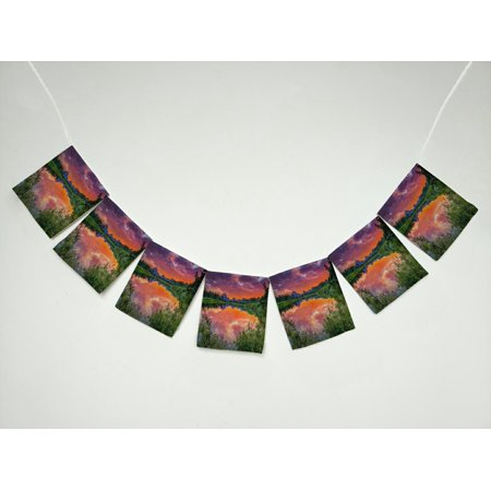 GCKG Mountain Colorful Sunset on the Oxbow Bend of the Snake River Banner Bunting Garland Flag Sign for Home Family Party Decoration (Banner On The Cheap)