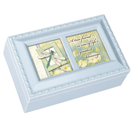 True Friend Petite Blue Music Box Plays Friends Are For, Easily Personalize With Your Own Photos And Messages By Cottage Garden