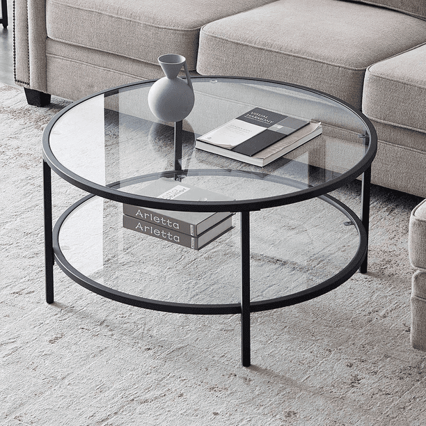 Uhomepro Round Glass Coffee Table Modern Cocktail Table With Tempered Glass Top Metal Frame End Table For Living Room Sofa Side Round Coffee Table For Small Space Easy Assembly Q16250 Walmart Com