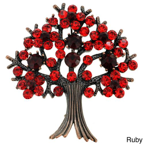 Fantasyard Bronzetone Crystal 'Tree in Full Bloom' Brooch by Overstock