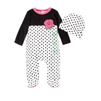 First Impression Infant Girl 2 PC Plush Leopard Jumpsuit Sleeper Hat Outfit