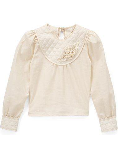 Little Girls Ivory Long Sleeve Quilted Texture Cuffs Rosette Collar Blouse