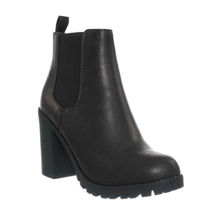 Glove by 2, Block High Heel Chelsea Boots - Women Lug Sole Elastic Ankle