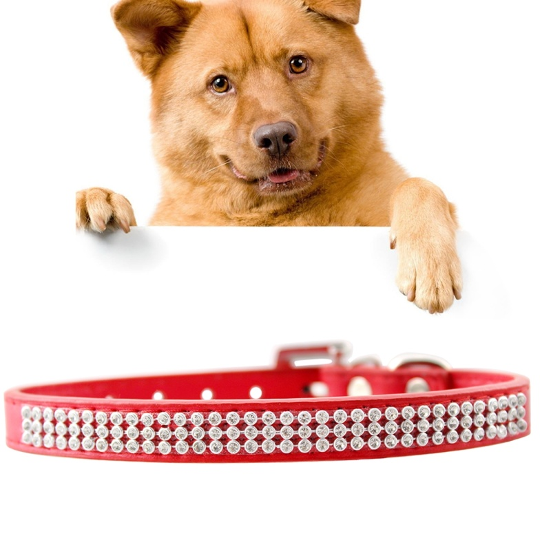 Dog Collar PU Diamond Studded Pet Neck Collar with Metal D Ring, Buckle, Size: Medium, 2 x 42cm - Red