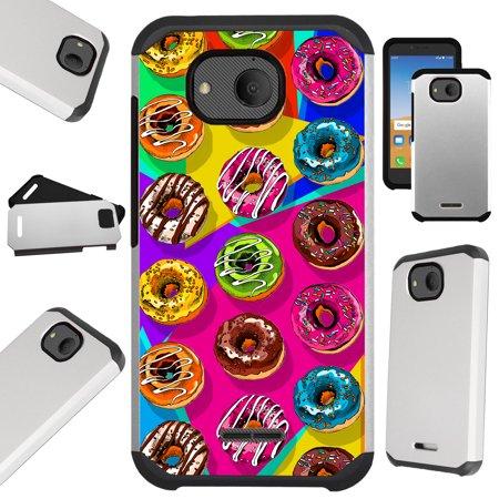 Compatible Alcatel Tetra (2018) Case Hybrid TPU Fusion Phone Cover (Donut Party) (Phone Party)