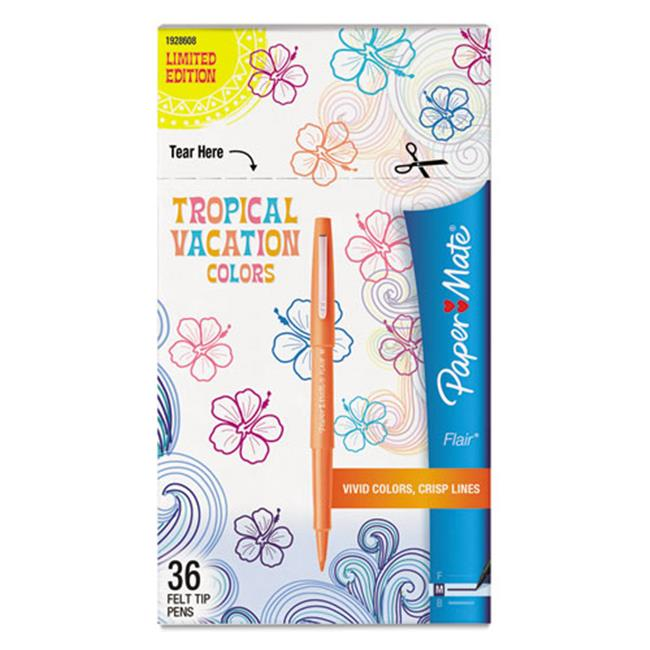 Papermate 1928608 Flair Felt Tip Marker Pen - Assorted Tropical Ink, Medium