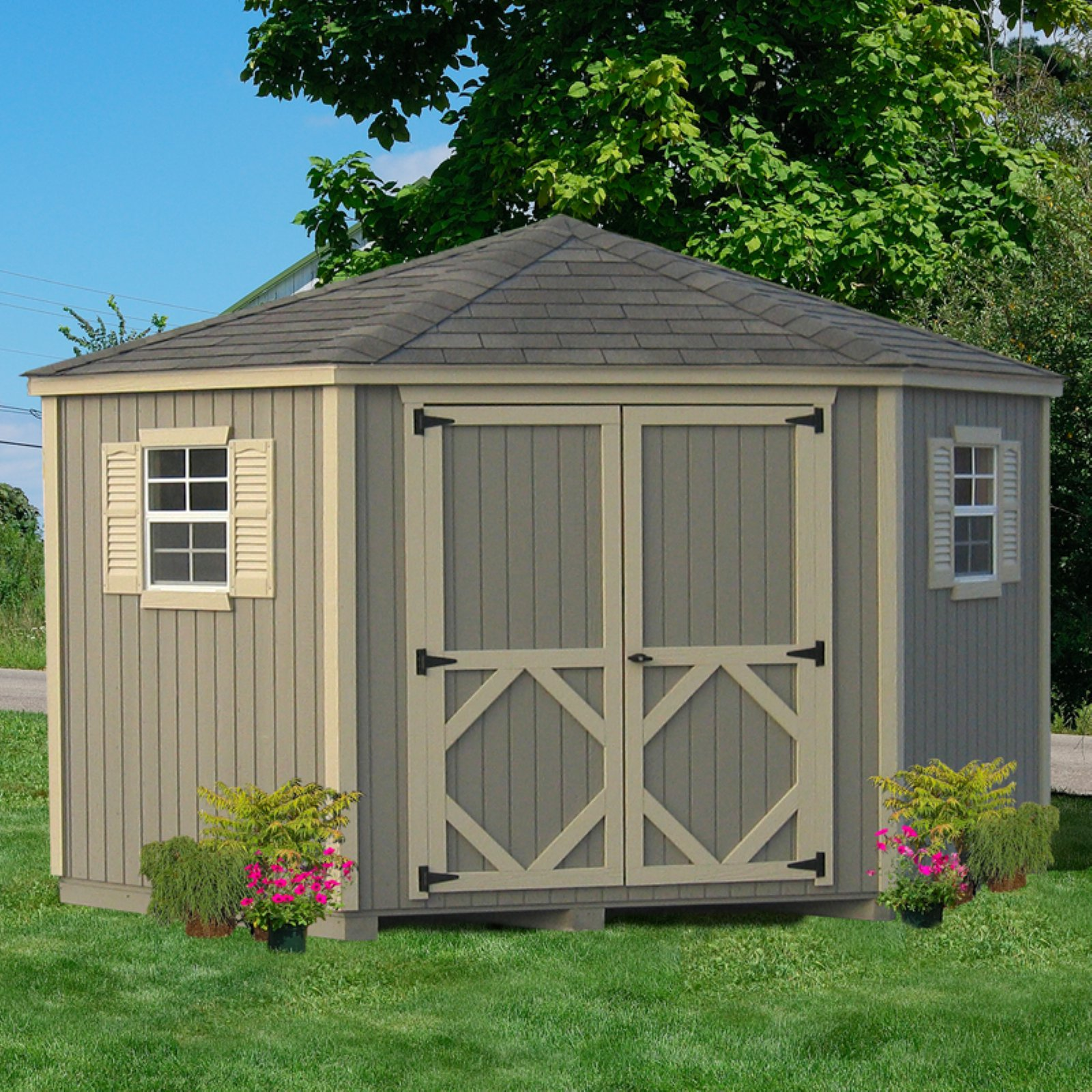 Garden Sheds 5 X 10 little cottage 10 x 10 ft. 5-sided classic panelized garden shed