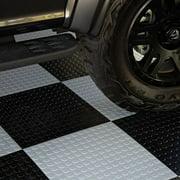 "FlooringInc Nitro Flex Protective Garage Flooring Tiles, 20.5""x20.5"", 8 Tiles, 23.36 Sqft, Coin Pattern, Black"