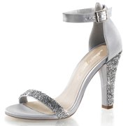Womens Rhinestone Bridal Shoes Ankle Strap Sandals Closed Back 4 1/2 Inch Heels