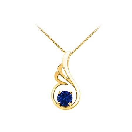 September Birthstone Sapphire Pendant in 18K Yellow Gold Vermeil with Free Chain Best