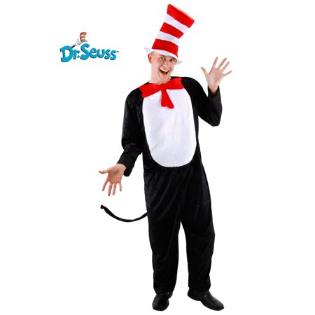 2 Piece Adult Cat In the Hat Costume (Baby Cat In The Hat Halloween Costume)