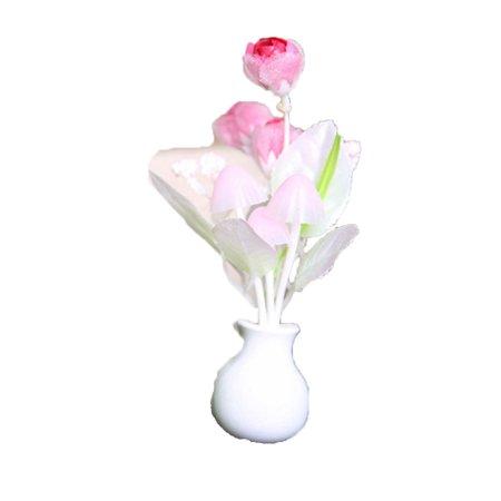 - Creative Tulip Mushroom LED Night Light Automatic Induction Bedroom Lamp,Pink
