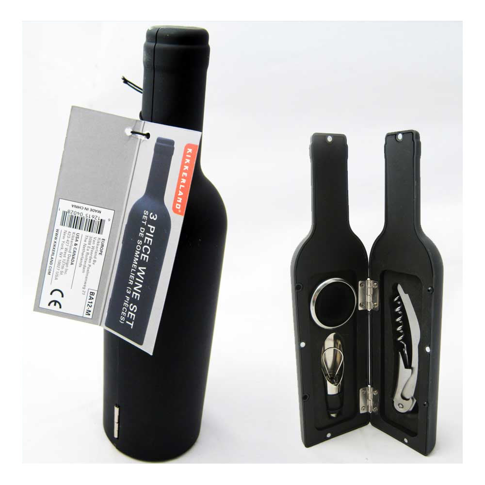 3 Pc Wine Set Bottle Opener Accessory Cork Screw Case Box Modern Set Stopper New
