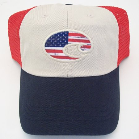 60cff08b20 NEW Costa Del Mar United Trucker Hat USA Red White Navy Blue - Walmart.com