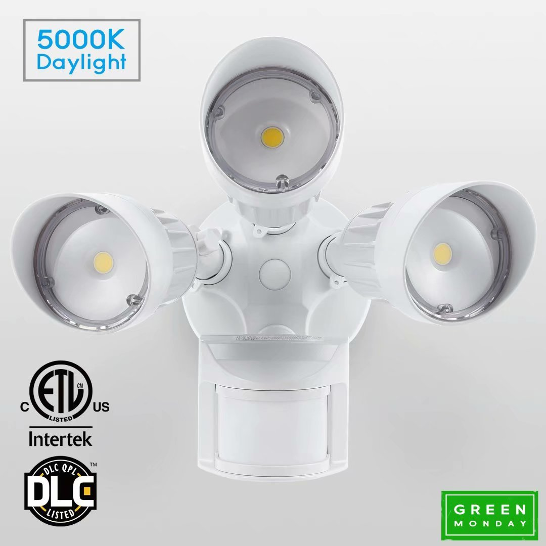 LEONLITE 30W 3-Head Security Lights Motion Activated, LED Dusk to Dawn Outdoor Security Light, 5000K, 2300lm, White for GREEN MONDAY