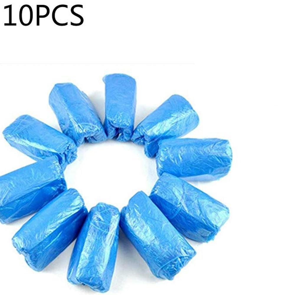 100Pcs Plastic Rain Waterproof Disposable Shoe Covers Overshoes Blue Boot Cover