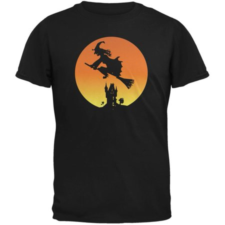 Halloween Witch Sunset Black Adult T-Shirt - Halloween T Shirts For Adults