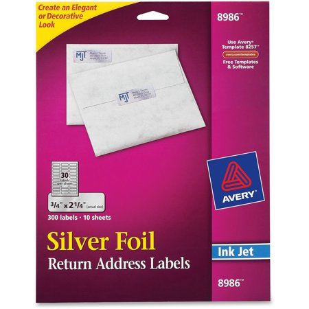 avery foil mailing labels 3 4 x 2 1 4 silver 300 pack walmart com