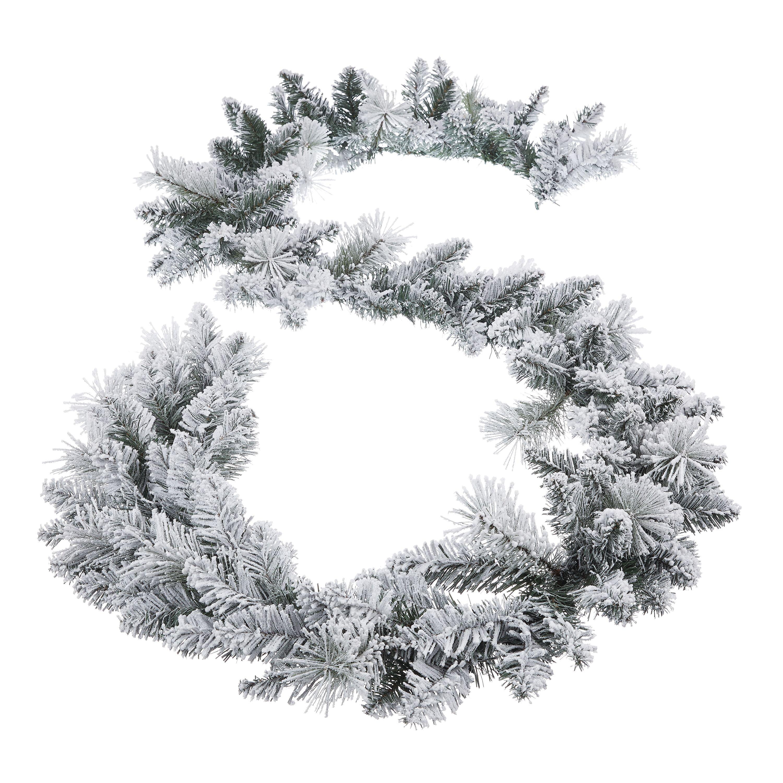 Holiday Time Winter Frost Flocked Un Lit Garland 9 Walmart Com Walmart Com
