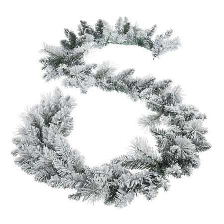 Holiday Time Winter Frost Flocked Un-Lit Garland, 9'