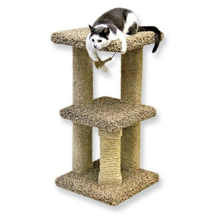 Beatrise Carpeted 2 Story Freestanding Kitty Nest Cat Condo with Scratching Post ()