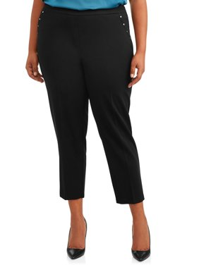 Zac & Rachel Women's Plus Size Scuba Crepe Slim Leg Ankle Pants with Silver Studs
