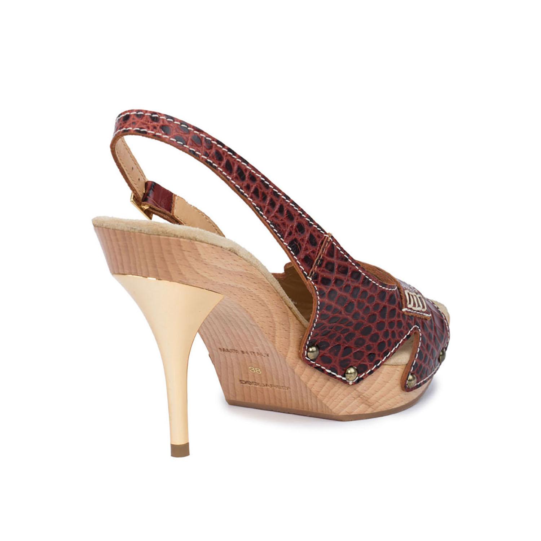 Dsquared2 Women D2 Brown Leather Slingback Heel Open Toe Platform Mid Heel Slingback Pump Shoes US 9 EU 39 510f0b