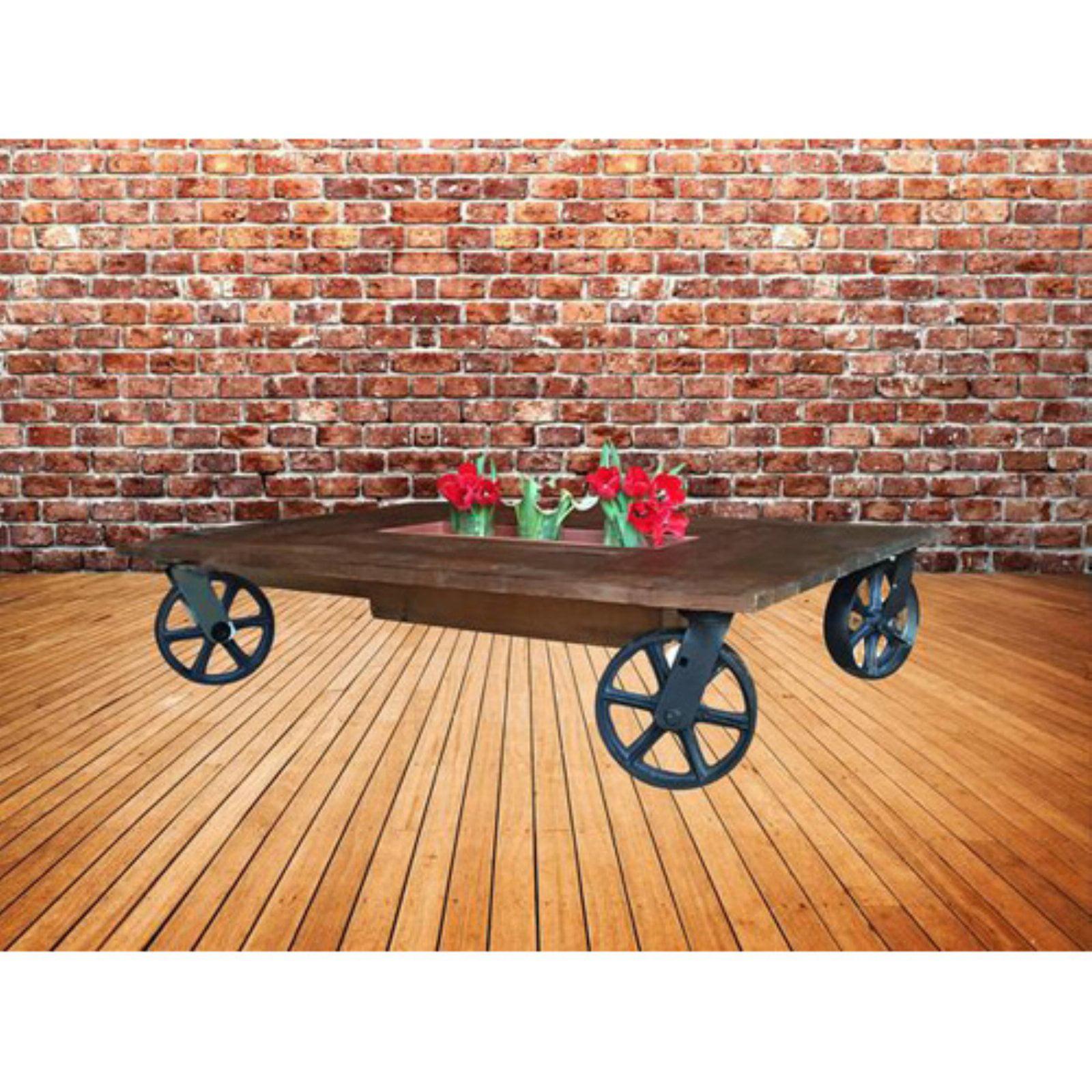 LadyBagsSf Single Planter with Black Metal Wheels Indoor Coffee Table
