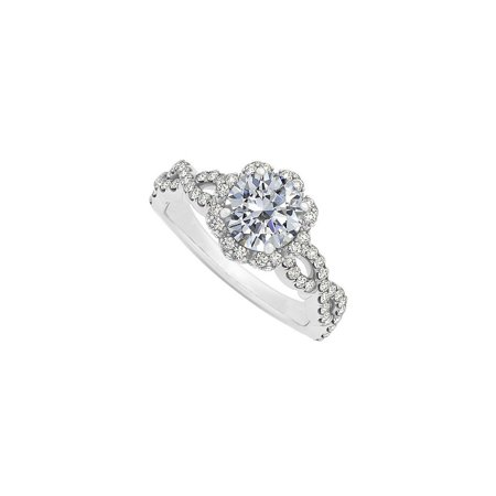 Cubic Zirconia Criss Cross Shank Halo Engagement Ring in 14K White Gold